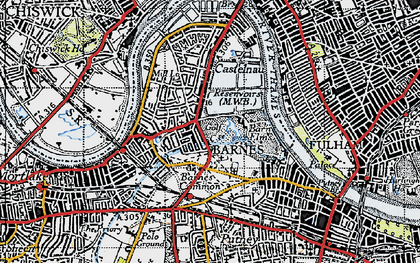 Old map of Barnes in 1945