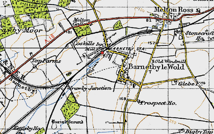 Old map of Barnetby le Wold in 1947