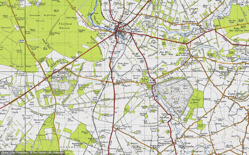 Old Map of Historic Map covering Aughton Spinney in 1946