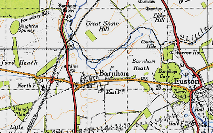 Old map of Aughton Spinney in 1946
