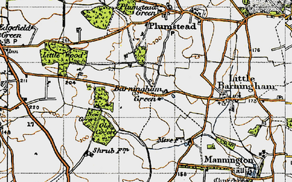 Old map of Barningham Green in 1945