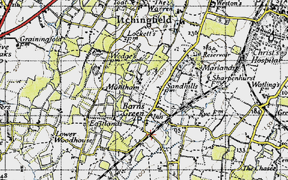 Old map of Barns Green in 1940