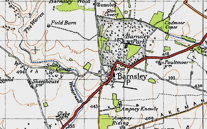 Old map of Barnsley in 1947