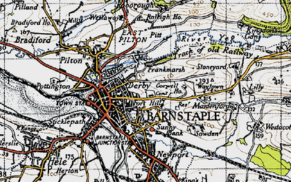 Old map of Barnstaple in 1946