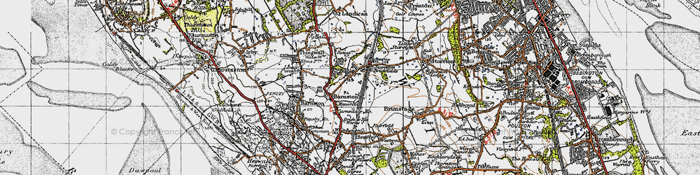 Old map of Barnston in 1947