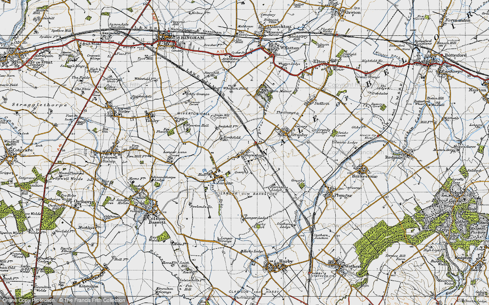 Old Map of Historic Map covering Whatton Fields in 1946