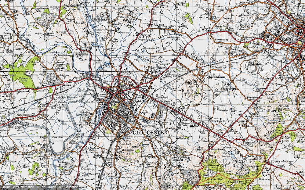 Old Map of Barnwood, 1947 in 1947