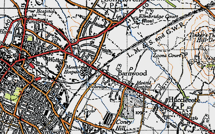 Old map of Barnwood in 1947