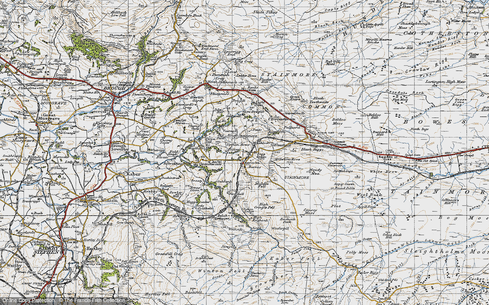 Old Map of Historic Map covering Woofergill in 1947