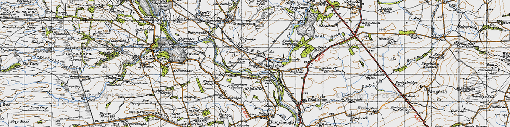 Old map of Barrasford in 1947