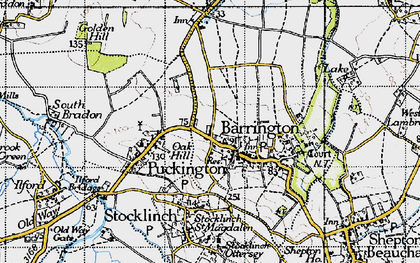 Old map of Barrington in 1945
