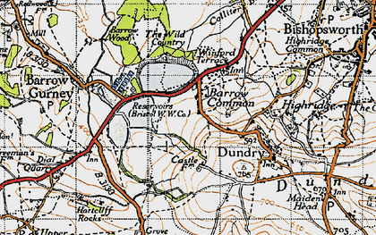 Old map of Barrow Common in 1946