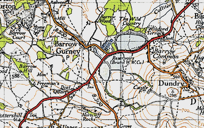 Old map of Barrow Gurney in 1946