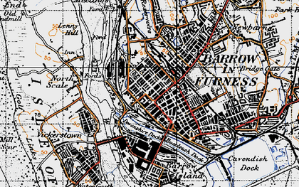 Old map of Barrow-In-Furness in 1947
