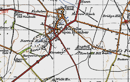 Old map of Barrow upon Humber in 1947