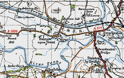 Old map of Barrow upon Trent in 1946