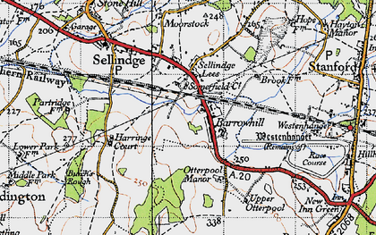 Old map of Westenhanger in 1940