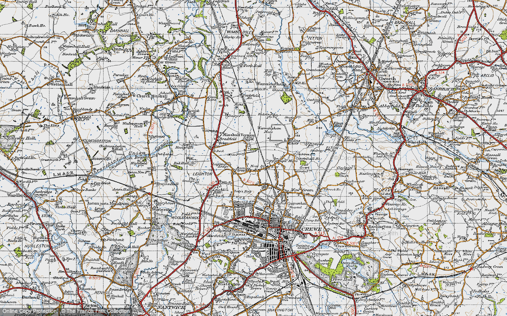 Old Map of Historic Map covering Leighton Lodge in 1947