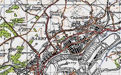 Old map of Barry in 1947