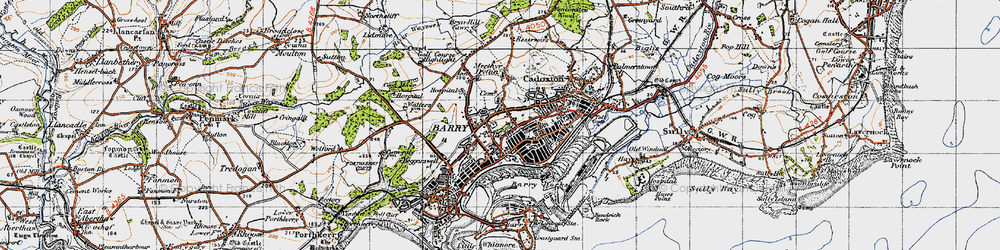 Old map of Barry Dock in 1947