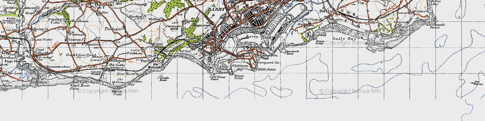 Old map of Barry Island in 1947