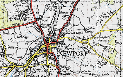 Old map of Barton in 1945