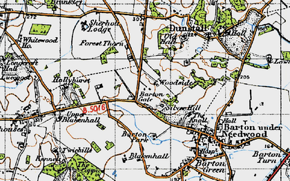 Old map of Barton Gate in 1946