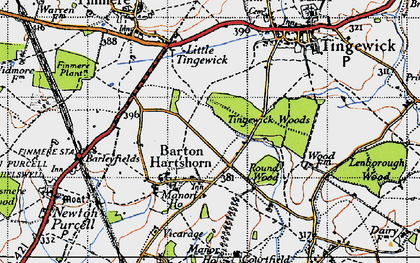 Old map of Tingewick Wood in 1946