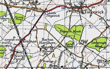 Old map of Barton Hartshorn in 1946