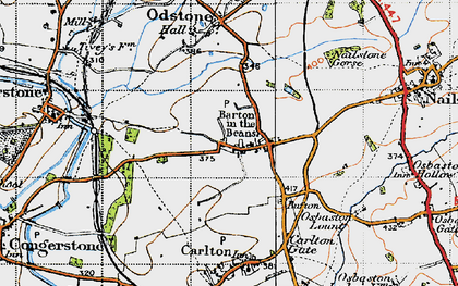 Old map of Barton in the Beans in 1946