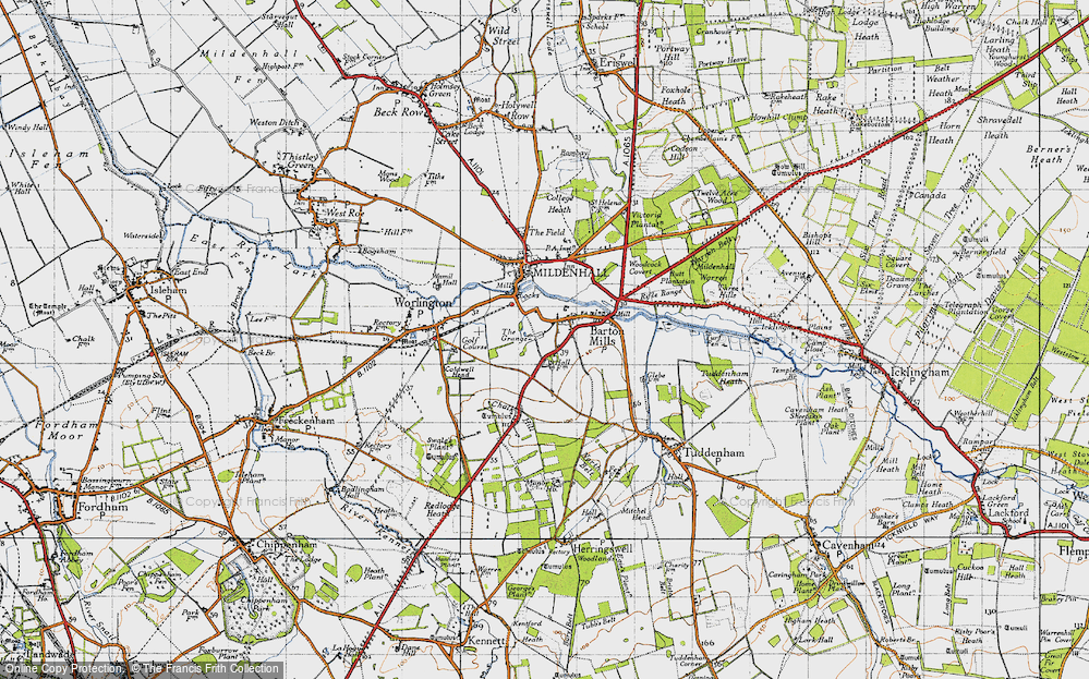 Old Map of Barton Mills, 1946 in 1946