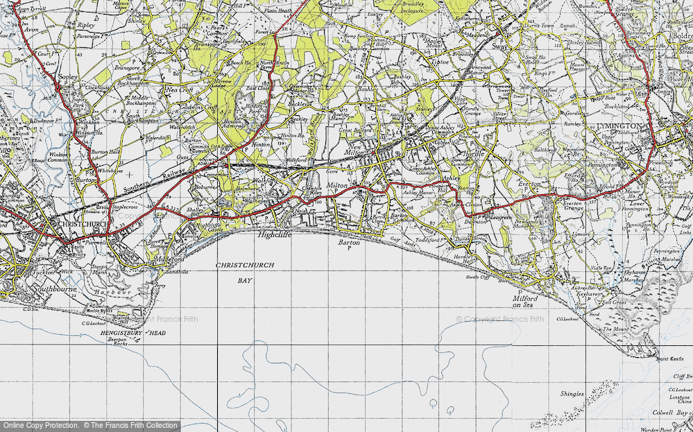 Old Map of Barton on Sea, 1940 in 1940