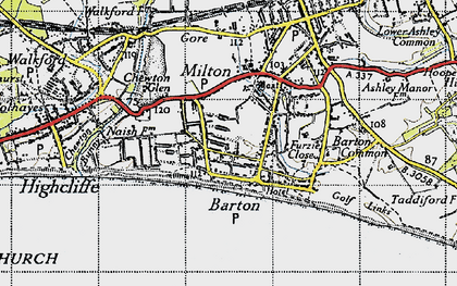 Old map of Barton on Sea in 1940