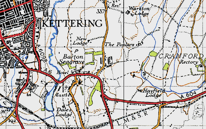 Old map of Barton Seagrave in 1946