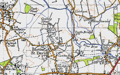Old map of Barton St David in 1945