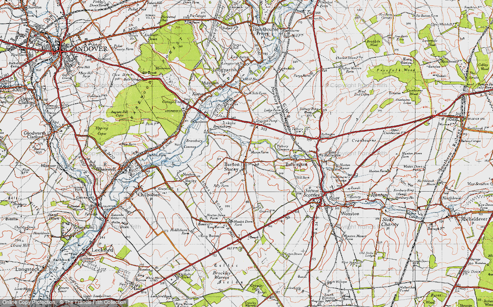 Old Map of Historic Map covering Tidbury Common in 1945