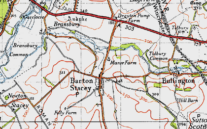 Old map of Tidbury Common in 1945