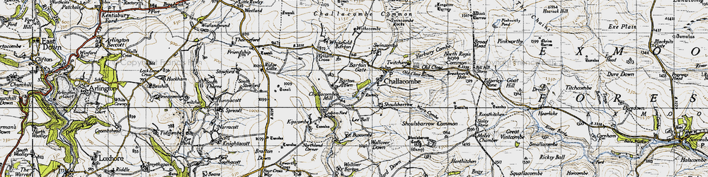 Old map of Barton Town in 1946