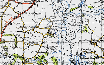 Old map of Barton Turf in 1945