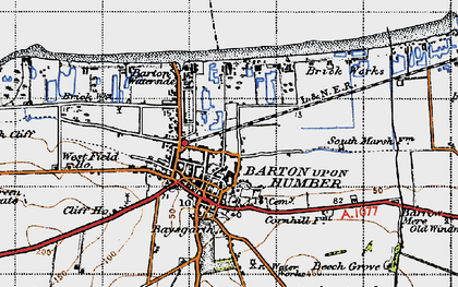 Old map of Barton-Upon-Humber in 1947