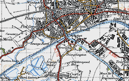 Old map of Barton Upon Irwell in 1947
