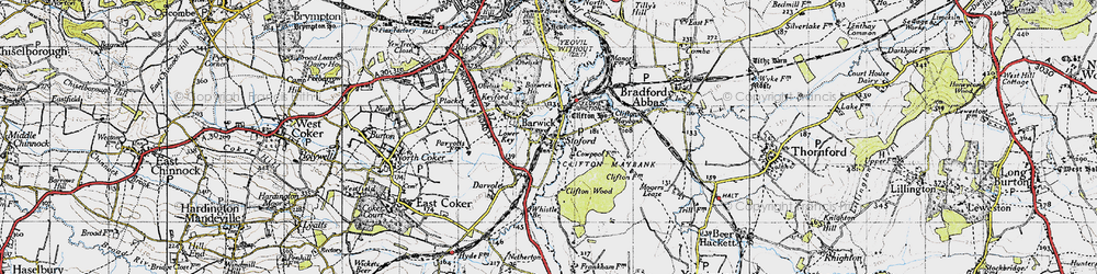 Old map of Barwick in 1945
