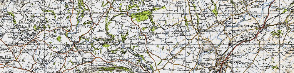 Old map of Bashall Eaves in 1947
