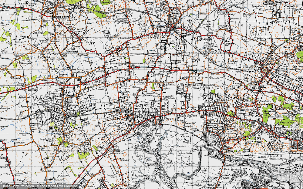 Old Map of Basildon, 1945 in 1945