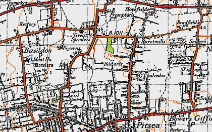 Old map of Basildon in 1945