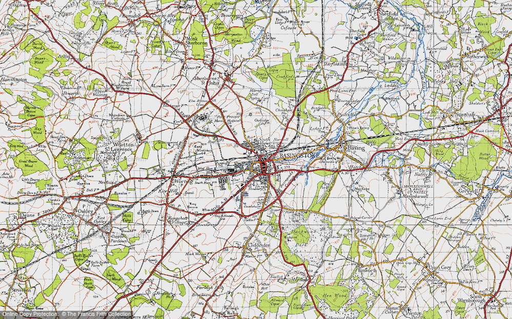 Map Of Basingstoke Map of Basingstoke, 1945   Francis Frith