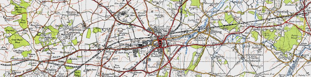 Old map of Basingstoke in 1945