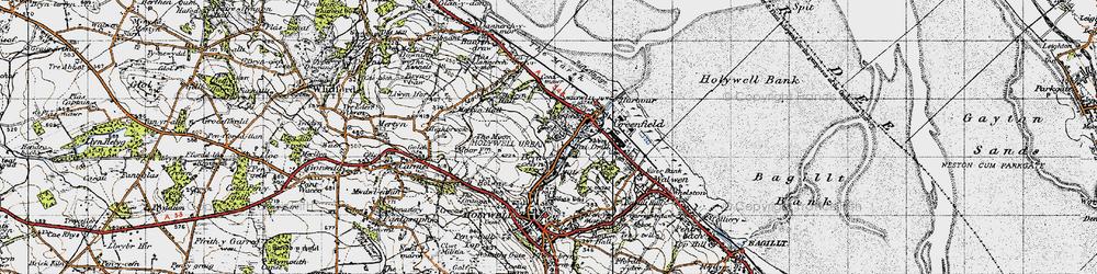Old map of Basingwerk Abbey in 1947
