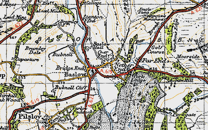 Old map of Baslow in 1947