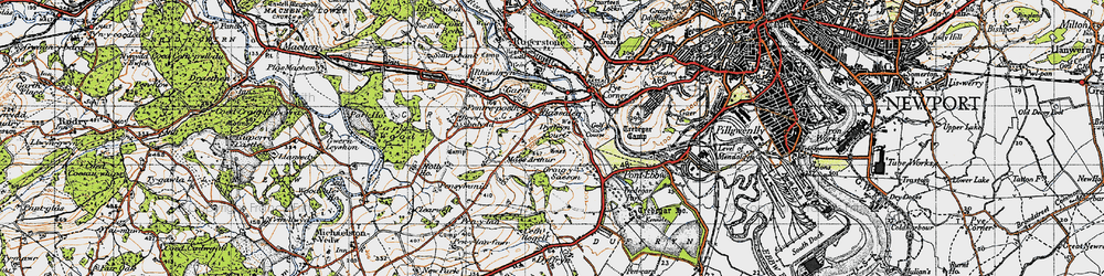 Old map of Bassaleg in 1947